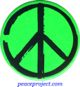 B0231G - Peace Sign - Artistic Black on Green - Button