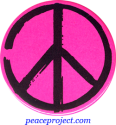 B0231P - Peace Sign - Artistic Black on Pink - Button