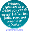 B544 - Whatever You Can Do Or Dream You Can Do, Begin It - Goethe - Button