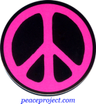 B0704P - Peace Sign - Pink over Black - Button