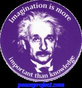 B270 - Imagination Is More Important Than Knowledge - Albert Einstein - Button