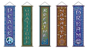 New Affirmation Banners: Namaste - Coexist - Dream - Peace - Gratitute - Breathe