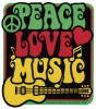 "Peace Love Music - Window Sticker / Decal (4"" X 4.5"")"