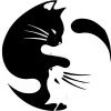 "Yin and Yang Pet Cat Lover - Bumper Sticker / Decal (4.5"" circular)"