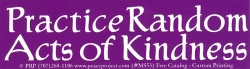 "Practice Random Acts of Kindness - Small Bumper Sticker / Decal (5.25"" X 1.5"")"