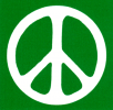"Peace Sign (White on Green) - Small Bumper Sticker / Decal (3"" X 3"")"