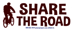 "Share The Road - Small Bumper Sticker / Decal (4.75"" X 1.75"")"