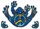 "Peace Frog - Window Sticker / Decal (5"" X 4"" plus two bonus 1.25"" X 1.25"")"