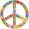 Flower Peace Sign - Window Sticker / Decal