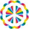 Rainbow Burst Peace Sign - Window Sticker / Decal