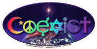 WA113 - Coexist with rainbow lettering - Window Sticker