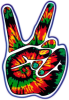 WA174 - Tie Dye Peace Hand - Window Sticker