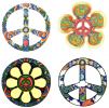 WA182 - 4 Peace Sign Set - Window Stickers