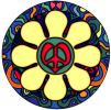 WA183 - Flower Peace Sign - Window Sticker