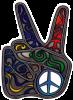 WA201 - Swirly Peace Hand - Window Sticker