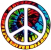 "Tie Dye Peace Circle - Window Sticker / Decal (4.5"" Circular)"