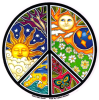 WA834 - Sun, Moon & Seasons Peace Sign - Window Sticker