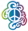 "Rainbow Peace Sign - Window Sticker / Decal (4"" X 4.5"")"
