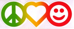 "Rasta Peace Love & Happiness - Window Sticker / Decal (6.5"" X 2.6"")"