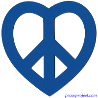 Blue Heart Peace Sign - Vehicle Magnet