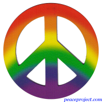 Rainbow Colors Peace Sign - Vehicle Magnet