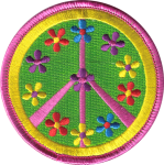 Peace Sign with Pastel Flowers - Patch
