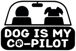 """Dog Is My Co-Pilot - Pet Bumper Sticker / Decal (5"""" X 3.25"""")"""
