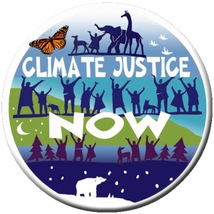 """Climate Justice Now - Button / Pinback (1.75"""")"""