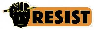 "Resist - Small Bumper Sticker / Decal (6"" X 2"")"