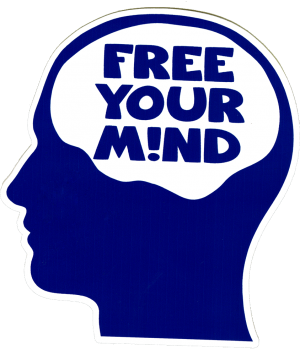 "Free Your Mind - Small Bumper Sticker / Decal (3.25"" X 3.5"")"