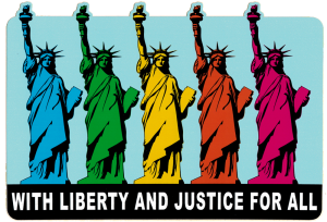 "With Liberty and Justice for All - Small Bumper Sticker / Decal (5.5"" X 4"")"