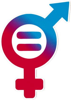 "Gender Equality Symbol - Small Bumper Sticker / Decal (5"" X 3.25"")"