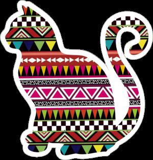 "Tribal Kitty - Small Bumper Sticker / Decal (3.75"" X 4"")"