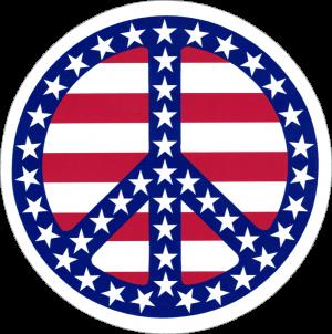 "Patriotic Peace Sign - Small Bumper Sticker / Decal (3.5"" Circular)"