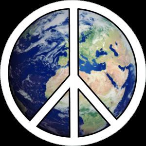 "Peace Sign Over Earth - Small Bumper Sticker / Decal (3.5"" Circular)"