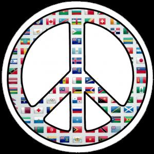 "World Peace Sign - Small Bumper Sticker / Decal (3.5"" Circular)"