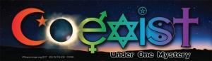 "Coexist Under One Mystery - Bumper Sticker / Decal (10.25"" X 3"")"