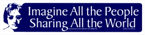 Imagine All The People Sharing All The World - John Lennon Small Bumper Sticker