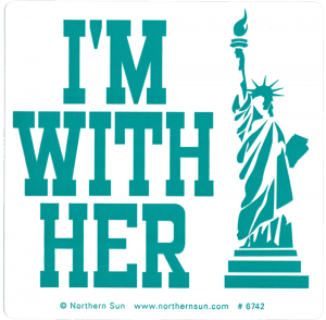 "I'm With Her - Small Bumper Sticker / Decal (4"" X 4"")"