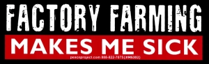 "Factory Farming Makes Me Sick - Small Bumper Sticker / Decal (5.75"" X 1.75"")"