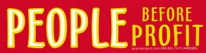 "People Before Profit - Small Bumper Sticker / Decal (6"" X 1.5"")"