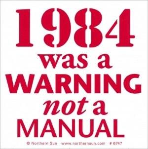 "1984 Was A Warning Not A Manual - Small Bumper Sticker / Decal (4"" X 4"")"