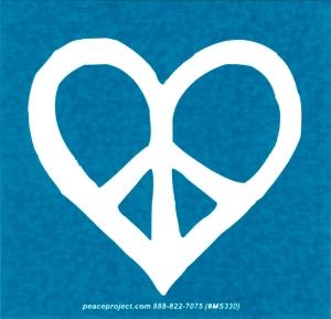 "Peace Heart - Small Bumper Sticker / Decal (3.5"" X 3.25"")"