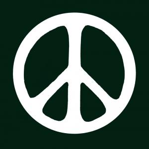 "Peace Sign (White on Dark Green) - Bumper Sticker / Decal (4.25"" X 4.25"")"