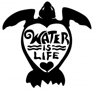 "Water Is Life Turtle (black) - Vinyl Cutout Sticker (5"" X 4.5"")"
