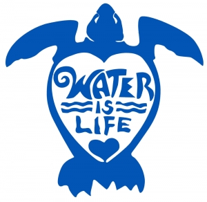 "Water Is Life Turtle (blue) - Vinyl Cutout Sticker (5"" X 4.5"")"