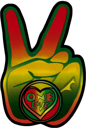 Rasta peace hand window sticker decal 3 75 x