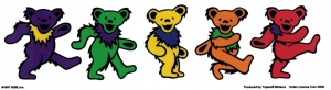 "Grateful Dead Dancing Bears 5 Bear Strip - Window Sticker / Decal (9.5"" X 2.5"")"