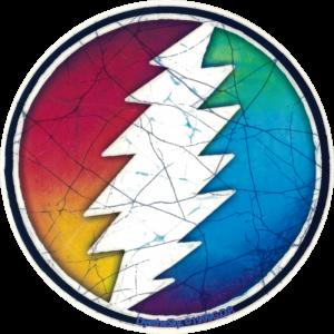 """Grateful Dead Rainbow Lightening Bolt - Window Sticker / Decal (5"""" Circular)"""