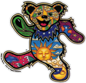 "Grateful Dead Dan Morris Dancing Bear - Window Sticker / Decal (4.5"" X 4.25"")"